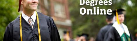 "Image of male student in graduation gown and cap. Reads ""OSU Degrees Online"""