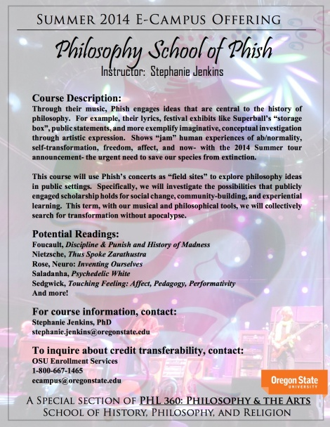 Philosophy School of Phish Class Class Announcement