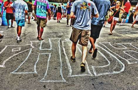 "Sidewalk chalk reads ""Phish"""