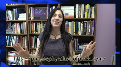 Image of Dr. Jenkins in front of bookcase. Text reads http://philosophyschoolofphish.com