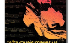 "Black background with red and orange image of woman dancing. Reads ""Why Music Moves Us Jeanette Bicknell"""