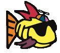 Phish.net logo: Cartoon fish with sunglasses and hat