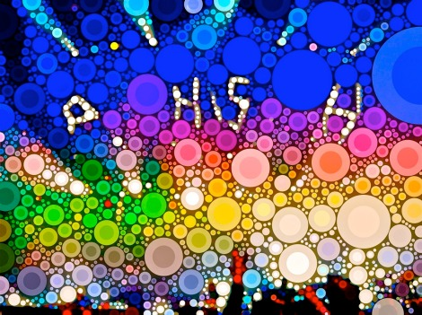 "Multi-colored bubbles spelling ""Phish"""